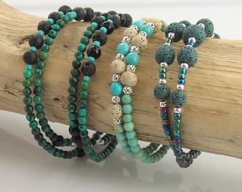 Turquoise and Teal Lava Stone Bracelets for Essential Oils, Beaded Memory Wire Bracelets