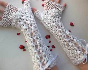 Crocheted Cotton Gloves L Ready To Ship Victorian Fingerless Summer Women Wedding Lace Evening Knitted Bridal Party White Corset Opera B50