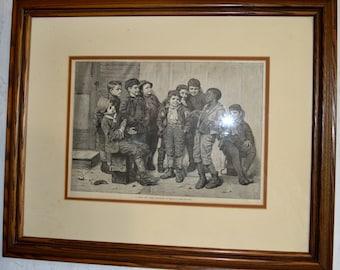 17067 Oak Frame Print of 9 Boys (Jolly Lot)