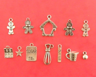 The gingerbread collection - 12 antique silver tone charms