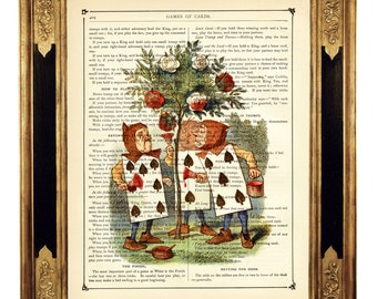 Alice in Wonderland Dictionary Art Playing Card Soldiers Rose Bush color - Vintage Victorian Book Page Art Print Steampunk