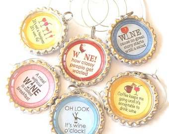 it's wine o'clock, Funny Wine Charms, Sassy Wine Glass Charms, Wine Theme Gift, Unique Wine Tags, Bachelorette Party, Wine Lovers, 6/Set