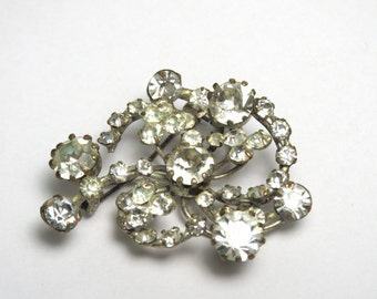 Rhinestone Brooch Silver Tone - Made in Austria - Large Rhinestones - Weight 10.4 Grams # 1211