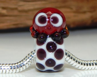 Squeedle BHB Charm Bracelet Lampwork Bead Black & White Red Octopus Cute Character Bead European Charm