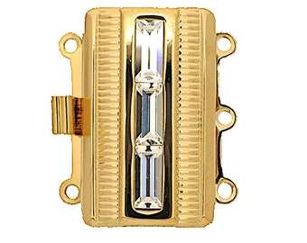 Three-Strand Box Clasp with Center Baguettes in Gold or Rhodium Etched Finish, 25x15mm