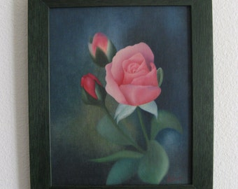 Vintage 1960s Oil Painting of Pink Rose and Buds in a 2015 Custom Wood Frame