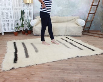 Living room rug, White area rug, Black and white rug, Wool area rug, Hand woven oriental rug, Grey stripes, Soft rug White area rug fluffy