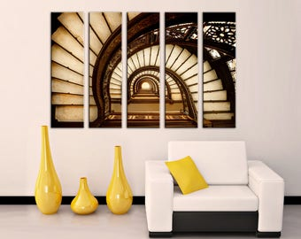 Spiral Staircase Wall Art Multi Panel Canvas Wall Canvas Print Train Wall  Decor Canvas Wall Art