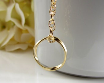 Little Gold Hoop Necklace, Gold Circle Pendant, Petite Hoop Pendant, Gold Filled Chain, Gold Necklace, Stocking Stuffer, Gifts for Her