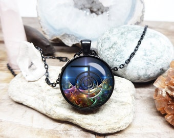 Cho ku Rei necklace Reiki necklace energy healing necklace reiki master sacred geometry jewelry yoga necklace Fractal geometric art necklace