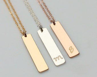 14k gold name bar necklace personalized vertical bar pendant gold vertical bar necklace personalized bar necklace silver bar pendant necklace rose gold aloadofball Image collections