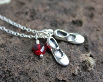 Love to Tap Dance Necklace - sterling silver dancing shoes charms and red glass heart, sterling silver chain - free shipping in USA