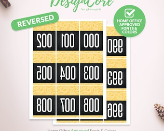Facebook Live Sale Reversed Mirrored Number Tag, 000 - 999, Home Office Approved, Yellow Black Paisley, Instant Download, Fashion, DCLST012