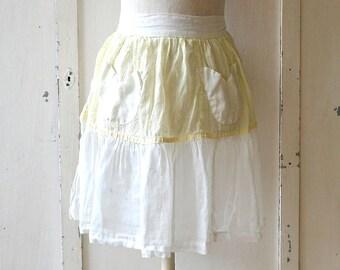 vintage white yellow sheer pocket apron floral yellow/white shabby chic apron