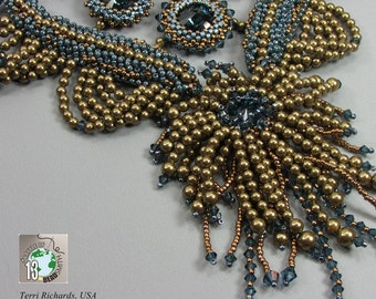 Bead Embroidery Pearl Necklace, Beaded Collar, Fancy Bib Necklace, BOTB 2013