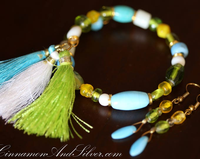 Caribbean Glass Beaded Bangle Bracelet and Earrings Set, Beachy Turquoise Blue and Yellow Glass Beaded Bangle Bracelet and Earrings Set