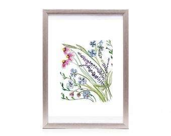 wild flower watercolor art print from original artwork, nature art, floral wall art, wild flower bouquet, multicolored wall art, gift ideas