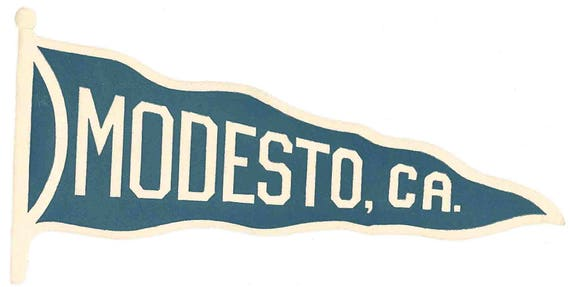 Vintage style modesto ca california pennant travel decal