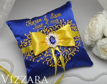 Ring Bearer Pillow Royal blue wedding ideas Ring bearer pillow ideas Royal blue and yellow wedding Modern ring pillow Royal blue weddings