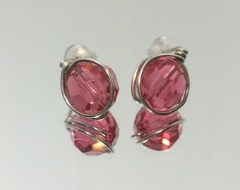 Indian Pink Crystal Studs ~ Argentium Silver Swarovski Crystal Stud Earrings ~ Handmade Jewelry ~ Pink Sterling Silver Stud Earrings