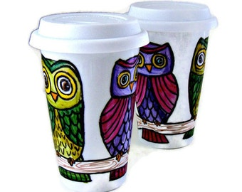 Ceramic Travel Mugs Set Besties BFF Owls Personalize Tree 2 Custom Tumblers Woodland Eco Friendly Painted Folk by sewZInski