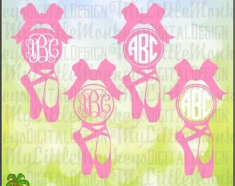 Ballet SVG ~ Ballet Slippers Svg ~ Ballet Shoes Svg ~ Monogram SVG ~ Pointe Shoes ~ Commercial Use SVG ~ Cut File ~ Clipart svg-dxf-eps-png