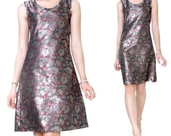 Brocade embroidery Fine desk evening knee length dress (M55)