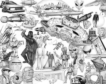 Science Fiction - pencil drawing - limited edition print by James Becker