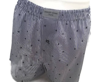 Handmade shorts, men's boxer shorts, sizes XS - XL, blue stars and stripes 100% cotton boxers, bespoke classic boxers, gift for men