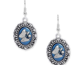 Persian Blue & Silver Color Butterfly and Lily Flower Cameo Vintage Style Dangle Earrings in Silver Tone