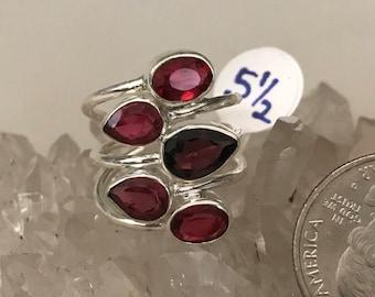 Pink Raspberry Rhodolite Garnet Ring Size 5 1/2