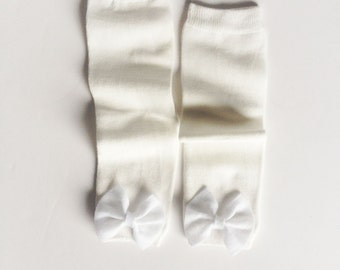 Bright White, Solid White Baby Leg Warmers, White Bow Baby Leg Warmers