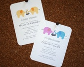 Baby, Twin, Triplet, Multiple Elephant Shower Invitations / Personalized / Twin Boys / Twin Girls / Boy & Girl Twins / Set of 10