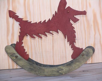 Decoration object: Arkaik Wolf. Wooden Wolf