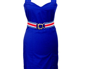 SALE - Blue Cotton Mini Dress, Plus Size Party Dress, Royal Blue, Women Designers Dress, Summer Dress, Sliming Dress,