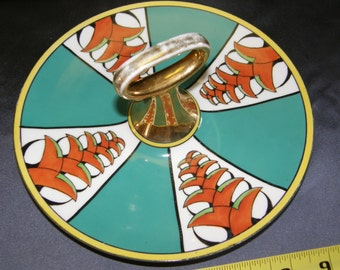 Meito China Hand Painted Center Handled Cake/Sandwich Serving Plate Made in Japan