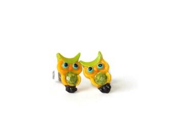 Owl Earrings - Bird Stud Earrings - Owl Studs - Yellow Stud Earrings - Green Stud Earrings - Owl Jewelry - Cute Stud Earrings - Bird Studs