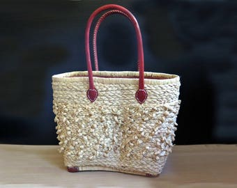 Raffia bag | Basket bag | Beach bag | Woven bag | Woven leather bag | Woven basket bag | raffia bag with leather handles