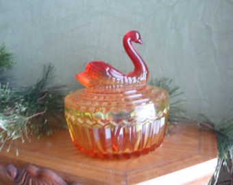 Jeanette Glass Amberina Powder Jar With Swan Lipstick Holder