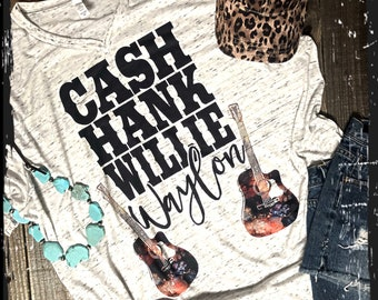 Country boys tee cash hank waylon willie