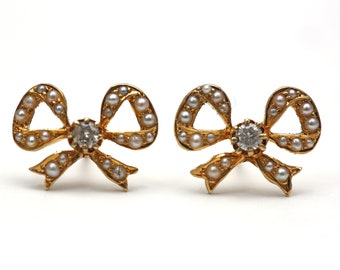 14k Victorian Diamond and Pearl Bow Earrings