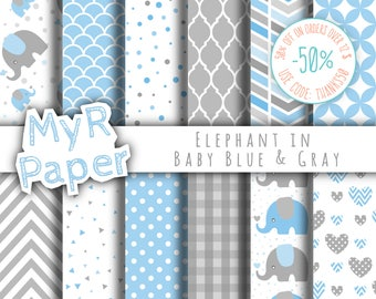 "Elephant digital paper: ""Baby Blue & Gray"" elephants papers pack of backgrounds and patterns - perfect for Baby Shower"