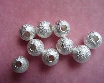 Bead, Silver Plated, Brass, 8mm, stardust round, with 2.4mm hole,  Pack Of 12 beads.