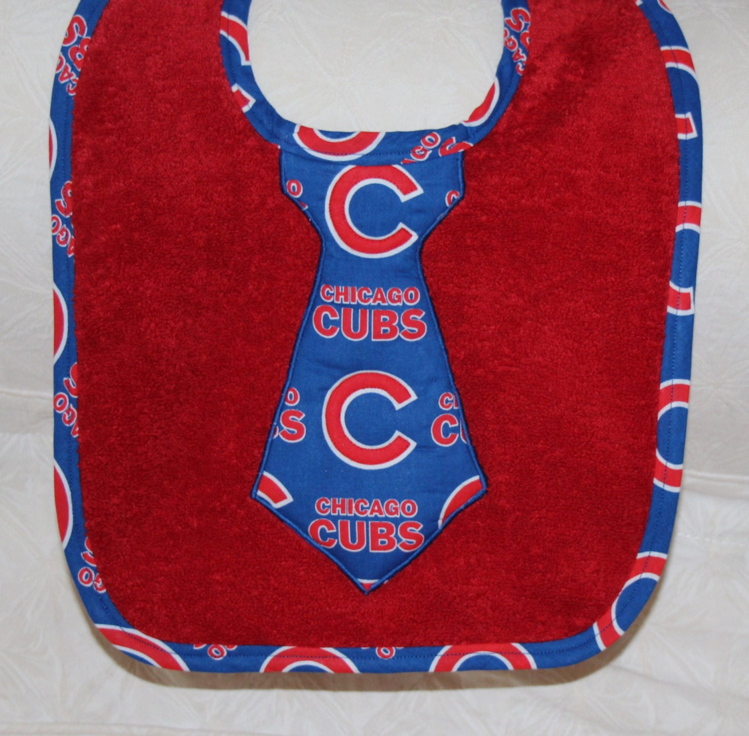 Chicago Cubs Baby Baseball Baby Boy Cubs Tie Bib on a Red