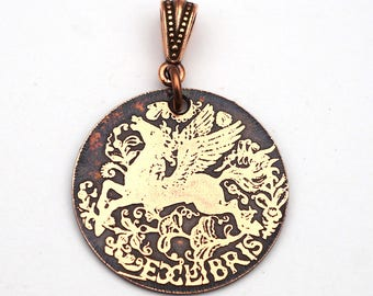 Winged horse bookplate pendant, round flat etched metal Pegasus, ex libris jewelry, 28mm