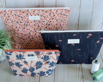 Charleston fabric collection wide open cosmetic bag set/ toiletry bag set/ travel bag set