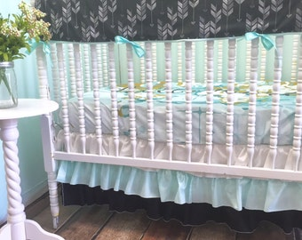 "Custom Crib Bedding in Aqua, Grey, and Black with Arrow Print and ""Hello World"" Sheet, Aqua Ruffle Skirt, Ivie Cloth Sheet, Arrow Rail Cover"