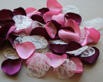 Cranberry, Rose, and Ivory Lace Flower Petals * Wedding Decor * Baby Shower * Birthday Party * Table Decor