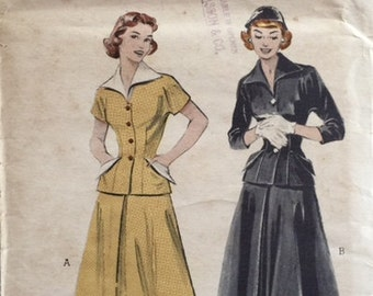 Vintage 50s Two Piece Fitted Wasp Waist Suit Wing Collar Jacket Sewing Pattern 6356 B32