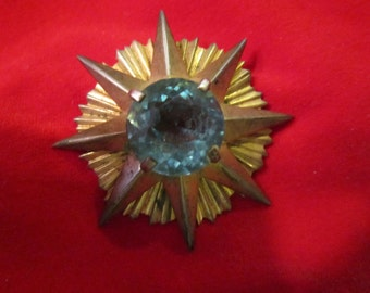SALE   signed adele simpson starburst atomic sterling brooch, amazing, heavy large gorgeous stone